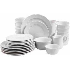 David Tutera Serendra 30-Piece Scallop Shape Debossed Dinnerware Set - SERVICE FOR  6 $40 ALSO IN BLACK