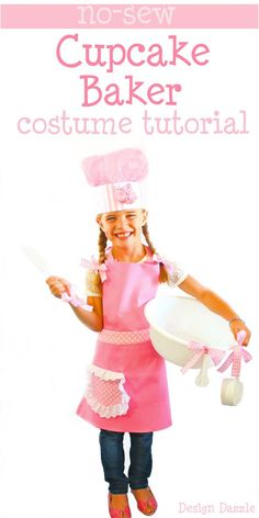 No-Sew Cupcake Baker Halloween Costume! Pink apron, tutorial on the chef hat and dollar store accessories help make this an INEXPENSIVE and EASY costume! Created by Design Dazzle