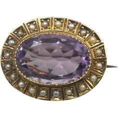 Antique 15ct Gold Amethyst Brooch With Seed Pearls