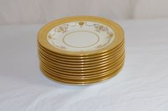 Mintons Burley & Co Chicago Set Of 12 Plates With Raised Gold Trim