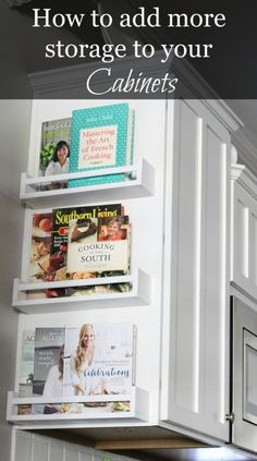 Here is a great and simple idea to add storage to your cabinets.  Now I know what do with my cookbooks! Magazine Rack, Accessories, Kitchen Remodel, Farmhouse Decor, Shelves, Kitchen Decor, Cabinet, Furniture, Home Decor