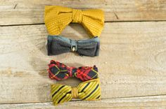Collection of Four Vintage Mens Bow Ties // Instant Collection Clip On Bow Ties on Etsy, $29.77