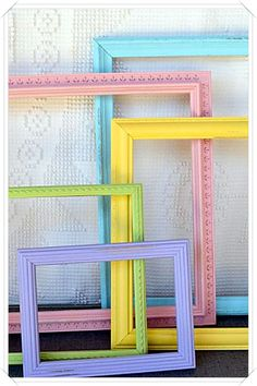 Shabby Chic Painted Frames Set of 5 - Pastel colors- Aqua, Pink, Yellow, Green, Purple For the girls bedroom Rainbow Room Kids, Rainbow Bedroom, Rainbow Nursery Decor, Rainbow House, Unicorn Rooms, Unicorn Bedroom, Pastel Room, Pastel Colors, Pastels