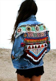 Boho+Shells+-+Embellished+vintage+oversize+jacket