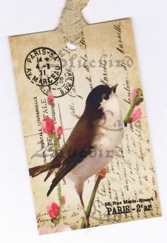 Bird Tags   Vintage Style   French Bird Gift Tags by Bluebirdlane, $6.00