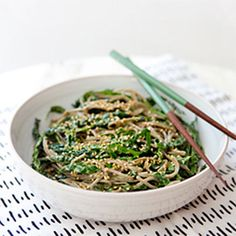 Kale Noodle Bowl with Avocado Miso Dressing