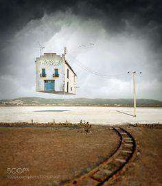 Salin airport - Pinned by Mak Khalaf A serie of photo-manipulation Fine Art blueseasurealism by EmmanuelCorreia