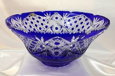 Lausitzer Bleikristall Cobalt Blue Lead Cut to Clear Crystal Bowl 12 Germany… Crystal Glassware, Crystal Vase, Clear Crystal, Cobalt Glass, Cobalt Blue, Vases, Blue Bottle, Himmelblau, Duck Egg Blue