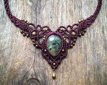 Macrame necklace elven tiara Prehnite - Custom order -  boho chic jewelry by Mariposa micromacrame micro-macrame P1