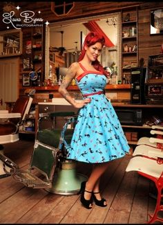 Pinup Couture Netti Dress in Cat Print Sateen with Red Sateen Trim