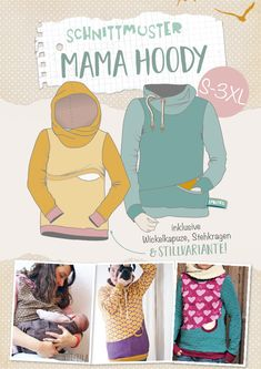 Baby Knitting Patterns Pullover Lybstes Mama Hoody Hoodie sew yourself, sewing pattern / e-book new in s … Maternity Sewing Patterns, Plus Size Sewing Patterns, Baby Knitting Patterns, Nursing Clothes, Nursing Tops, Sewing Clothes, Sewing For Kids, Baby Sewing, Balloon Dress