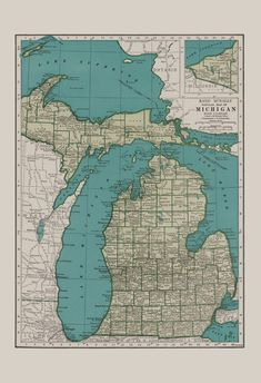 VINTAGE MICHIGAN MAP Vintage Map of by EncorePrintSociety
