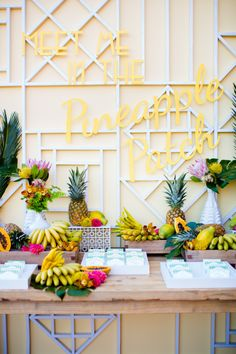 """This island wedding is fun with a capital """"f"""" and it has everything to do with the creative gurus behindAmorology. They took the couple's vision for killer party and created a retro Hawaiian, tropical fruit-infused day with color and style like"""