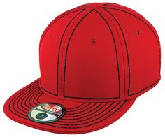 Blank Heavy Stitch Fitted Cap - Red/Black