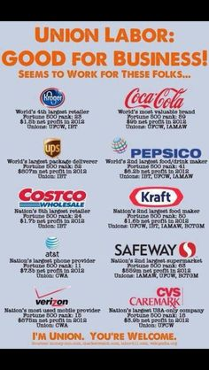 All of these companies are giants in their industries, respected in their industries, profitable and UNION! See, it's just that easy!