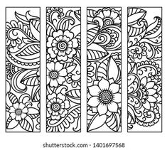 Portfolio d'images et de photos de stock de Katika   Shutterstock Detailed Coloring Pages, Coloring Book Pages, Coloring Sheets, Free Printable Bookmarks, Bookmarks For Books, Floral Doodle, Cricut Craft Room, Doodle Patterns, Book Making
