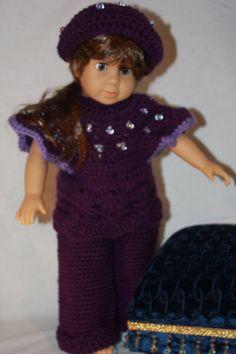American Girl Doll Crochet Pants Set with Hat by PrairieWindGirls, $35.00