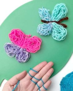 Free Finger Knitting Pattern for Butterflies - Red Ted Art provides instructions and videos to finger knit a butterfly. Great project for kids!