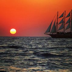 Sail off into the Photo by: Santorini Sunset, Social Media Art, Sailing Ships, Around The Worlds, Boat, This Or That Questions, Vacation, Dinghy, Vacations
