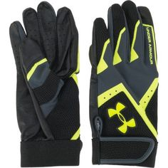 The Under Armour™ Kids' Clean Up VI Batting Gloves feature HeatGear® fabric technology and perforated synthetic overlays. Under Armour Kids, Batting Gloves, Clean Up, Black N Yellow, Softball, Biking, My Girl, Youth, Christmas Gifts