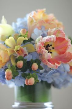 my favorite color pallet - periwinkle, shades of pink, pastel yellow and a little green to tie it all together