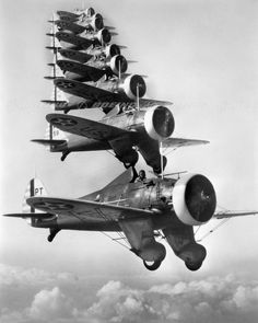 P-26A Peashooters Flying in Formation