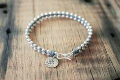 Yoga Beaded Bracelet with Om Charm Waxed by CiCiDesignsJewelry