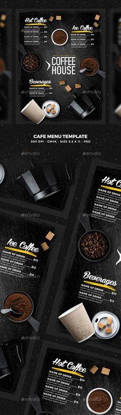 Cafe Menu — Photoshop PSD #cafe #cafeteria • Download ➝ https://graphicriver.net/item/cafe-menu/20393539?ref=pxcr