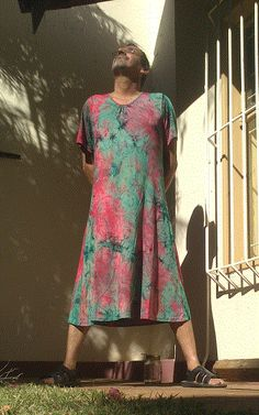 My tie dyed day dress Man Skirt, Dress Skirt, Unisex Fashion, Mens Fashion, Guys In Skirts, Men Wearing Dresses, Day Dresses, Summer Dresses, Men In Kilts
