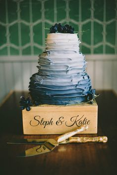 Blue ombre wedding cake with ruffles | Sara Rogers Photography