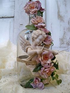 Recycled glass bottle art cherub theme with by AnitaSperoDesign, $27.00