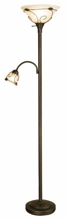 torchiere floor lamp with side reading lamp Dark-bronze painted finish; frosted glass shades with wire-metal decor; leaf and vine motif Rotary switch turns on torchiere, reading light, or both