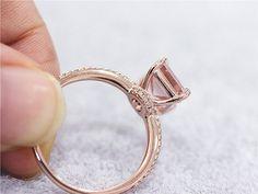 7x9mm puro Esmeralda anillo 14K oro rosa SI/H por LoveGemArts