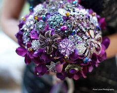 Plum Hydrangea Bouquet by Blue Petyl #wedding #bouquet #purple #brooch