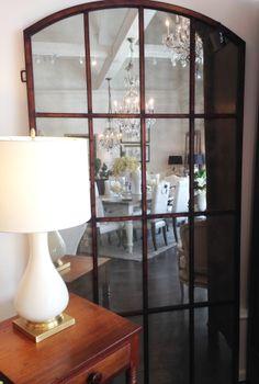 Arched distressed window pane floor mirror #winterberrylane #furniture #homedecor #lamp #mirror #oakville #floormirror