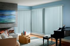 S-shaped Vertical Blinds with One Touch and Square-Corner Valance: Arizona, Pool 3639.