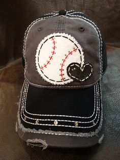 Baseball love distressed baseball hat by BlingirlSpirit on Etsy