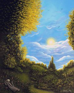 Original Painting Fantasy Gothic Landscape Cat Girl Tree Clouds Fairy Tale | eBay