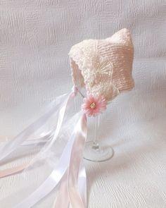 SALE - Pixie Bonnet With Lace, Newborn Hat, Photo Prop, Baby Pink. $18.00, via Etsy.
