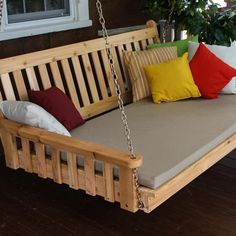 A&L Furniture Traditional English 4 Foot Cedar Outdoor Swing Bed With Cushion - Shown With Gray Cushion and Natural Finish