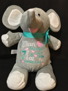 Birth announcement elephant birth stat elephant keepsake elephant birth announcement stuffed animal baby announcement plush animal personalized stuffed animal baby gift monogrammed little elska owl negle Gallery