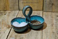 Australian handmade ceramic Salt & Pepper pinch pots by www.millerspottery.com