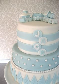 Train CAKE TOPPER Baby Blue and White Edible Fondant by Devany, $30.00