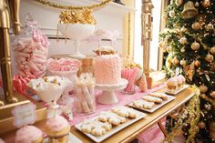 pink and gold dessert table for old fashioned Christmas party