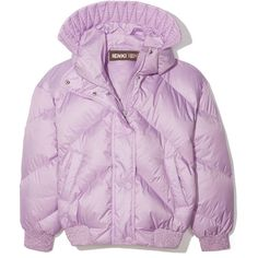 Dunlop Puffer Coat ❤ liked on Polyvore featuring outerwear, coats, pink coat, pink puffer coat, dunlop, goose down coats and puffy coat