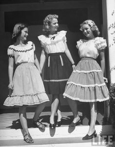 They are sweet <3 Amateur high school models posing for new spring catalog layout, Peter Stackpole october 1946