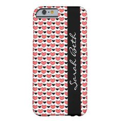 Cute iPhone Case, Rose Pink & Black Hearts, personalize with your name on the matching black ribbon down the side.