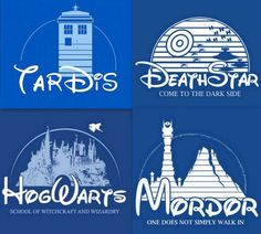 Doctor Who - Tardis, Star Wars - Death Star, Harry Potter - Hogwarts and Lord of the Rings - Mordor Doctor Who, Geeks, Film Mythique, Cultura Nerd, Plus Tv, O Hobbit, Harry Potter Tumblr, Geek Out, Superwholock