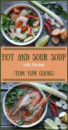 Hot and Sour Soup with Shrimp (Tom Yum Goong). Full of flavor and it's so simple to make. From start to finish you can easily have this ready in about 20 minutes. #hotandsoursoup #tomyumgoong