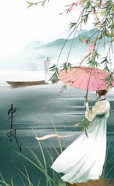 「 作者' 樂兮 」 Chinese Drawings, Abstract Nature, China Art, Korean Art, Creative Pictures, Human Art, Anime Scenery, Anime Art Girl, Krishna Art